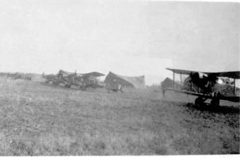 No 62 Sqn flight line in the field  summer 1918