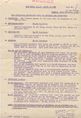 RAF 9th Wing Operational Order 11 November 1918