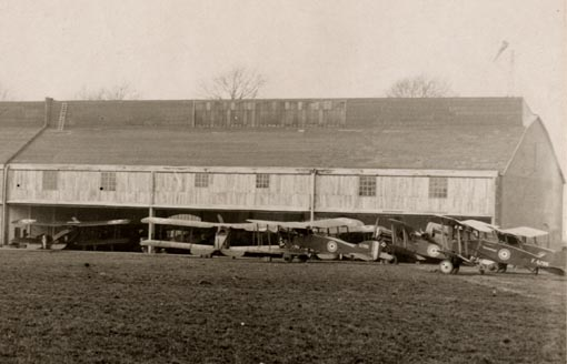 Bristol fighters in front of hangar at Nivelles airfield 1918
